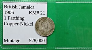 OLD BRITISH JAMACIA FARTHING COIN 1906 KM21 LOW MINTAGE WORLD FOREIGN