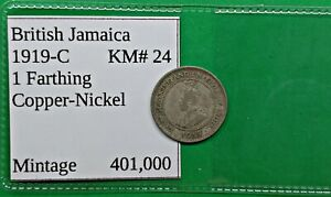 OLD BRITISH JAMACIA FARTHING COIN 1919 C KM24 LOW MINTAGE WORLD FOREIGN