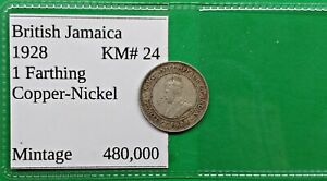 OLD BRITISH JAMACIA FARTHING COIN 1928 KM24 LOW MINTAGE WORLD FOREIGN