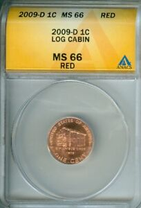 2009 D LINCOLN CENT LOG CABIN ANACS MS66 RED BU COIN
