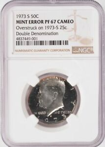 UNIQUE PROOF 1973 S KENNEDY 50C ON 1973 S 25C DOUBLE DENOMINATION NGC PF67 CAMEO