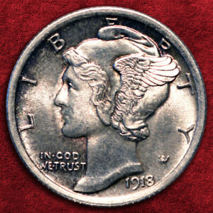 Click now to see the BUY IT NOW Price! 1918 P MERCURY SILVER DIME FB ULTRA HIGH GRADE   GEM BU   SALE 25