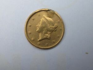 1851 INDIAN HEAD $1 DOLLAR TYPE 1 GOLD  EX JEWELRY HEAVILY WORN EXACT COIN