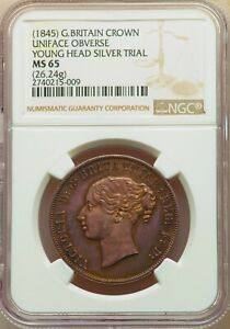 Click now to see the BUY IT NOW Price! UNIQUE 1845 ENGLISH CROWN YOUNG HEAD SILVER DIE TRIAL PIEDFORT PATTERN NGC MS 65