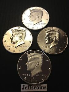 2014 P D S S KENNEDY HALF DOLLAR SILVER & CLAD PROOF BUSINESS STRIKES MINT 4 SET