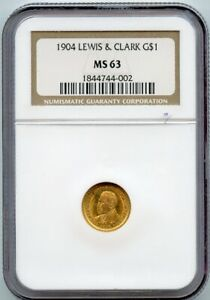 1904 LEWIS AND CLARK G$1 GOLD DOLLAR COIN NGC MS 63