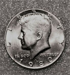 1980 P KENNEDY HALF DOLLAR FROM UNCIRCULATED US MINT ROLL