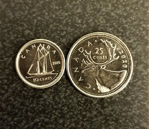 10 & 25 CENTS COINS CANADA 2020