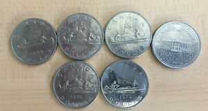 A LOT OF 6 NICE CANADA ONE DOLLAR COINS 1969 72X2 73 76 78