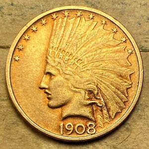1908 NO MOTTO $10 INDIAN GOLD XF/AU