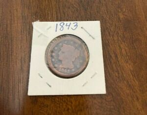 1843 BRAIDED HAIR LARGE CENT IN 2X2 FLIP