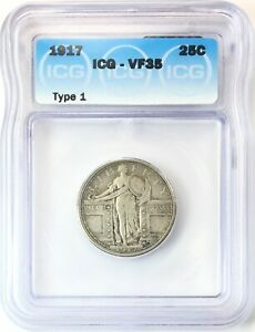 1917 TYPE 1 STANDING LIBERTY QUARTER SILVER 25C CIRCULATED FINE ICG VF35