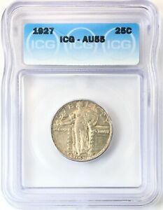 1927 STANDING LIBERTY QUARTER SILVER 25C ABOUT UNCIRCULATED ICG AU55