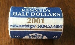 UNITED STATES MINT $10 ROLL OF 2001D KENNEDY HALF $1 IN ORIGINAL MINT WRAPPING