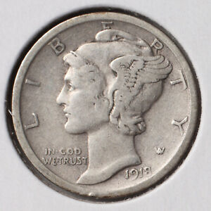 1918 D 10C MERCURY DIME F    90  SILVER   ACTUAL COIN PICTURED