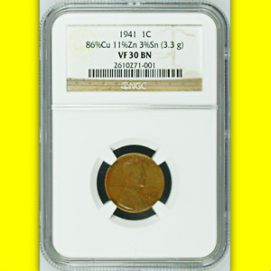1941 NGC VF30 OFF METAL PATTERN THICK PLANCHET WWII 1C  LINCOLN WHEAT CENT