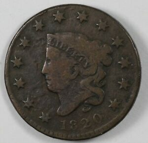 1820 CORONET HEAD SMALL DATE EARLY US COPPER LARGE CENT 1C