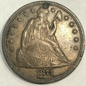 1871 SEATED LIBERTY SILVER DOLLAR HOLED AND PLUGGED
