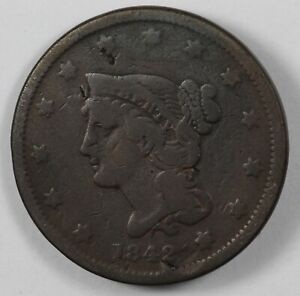 1842 BRAIDED HAIR EARLY US LARGE CENT 1C   SMALL DATE