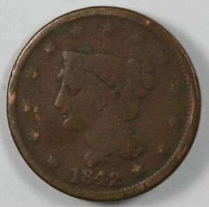1842 BRAIDED HAIR EARLY US LARGE CENT 1C   LARGE DATE