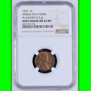 1952 NGC MS63 THICK PLANCHET ERROR OR PATTERN  UNIQUE?  LINCOLN WHEAT CENT 1C