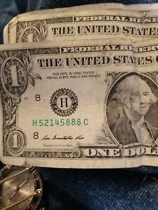 ONE DOLLAR BILL 2013 ONE TRIPLE OF 888S AT THE END OF SERIAL NUMBER