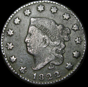 1822 CORONET HEAD LARGE CENT PENNY      NICE DETAILS TYPE COIN      S510