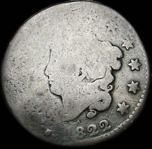 1822 CORONET HEAD LARGE CENT PENNY      NICE DETAILS TYPE COIN      S512