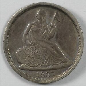 1837 SEATED LIBERTY EARLY US SILVER DIME 10C   NO STARS LG DATE