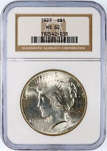 1927 P PEACE LIBERTY HEAD SILVER DOLLAR   NGC MS 62. STRONG STRIKE. EYE APPEAL