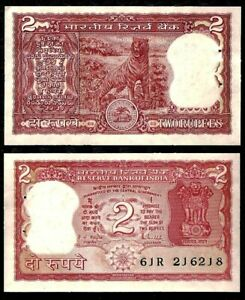 INDIA 2 RUPEES 1960S TIGER FOREIGN PAPER MONEY WORLD BANKNOTE CURRENCY