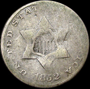 1852 SILVER THREE CENT PIECE 3CP     NICE DETAILS DAMAGED TYPE COIN      S747