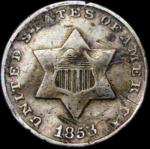 1853 SILVER THREE CENT PIECE 3CP     NICE DETAILS DAMAGED TYPE COIN      S746