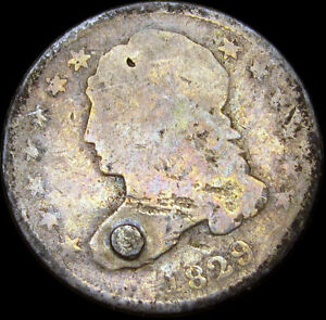 1829 CAPPED BUST DIME SILVER      NICE DETAILS HOLED TYPE COIN       S761