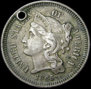 1865 COPPER NICKEL THREE CENT PIECE 3CP   NICE DETAILS HOLED TYPE COIN   S805