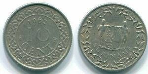 10 CENTS 1962 SURINAME NETHERLANDS NICKEL COLONIAL COIN S13216.U