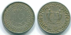 10 CENTS 1962 SURINAME NETHERLANDS NICKEL COLONIAL COIN S13215.U