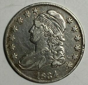 1834 LARGE DATE SMALL LETTERS O 107 R 1 VF CAPPED BUST SILVER US HALF DOLLAR 50C
