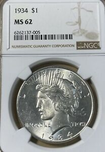 1934 NGC MS62 PEACE SILVER DOLLAR