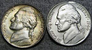 1944 AND 1944 S SILVER JEFFERSON NICKEL       STUNNING LOT      S829