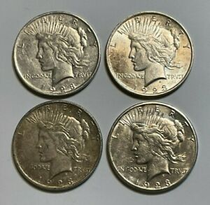 A LOT OF 4 $1 1922 SILVER PEACE DOLLARS 1923 P 1923 P 1923 D & 1923 S