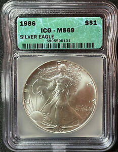 1986 $1 AMERICAN SILVER EAGLE FIRST YEAR ICG CERTIFIED MS69 ASE