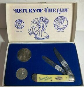 RETURN OF THE LADY 1987 SILVER EAGLE & WALKING LIBERTY COINS WITH POCKET KNIFE