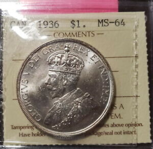 1936 CANADIAN SILVER DOLLAR ICCS MS64
