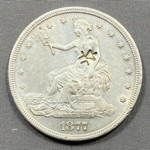 1877 S TRADE DOLLAR T$1   AU ALMOST UNCIRCULATED DETAILS   CHOP MARK