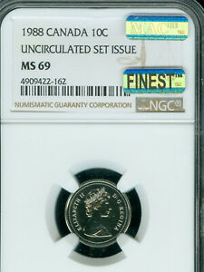 1988 CANADA 10 CENTS NGC MS 69 PQ MAC FINEST GRADE & SPOTLESS  ..