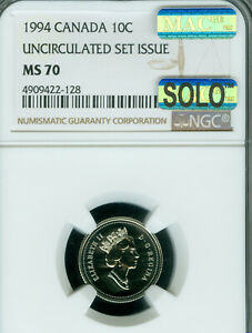 1994 CANADA 10 CENTS NGC MS 70 MAC SOLO FINEST GRADE & SPOTLESS   ..