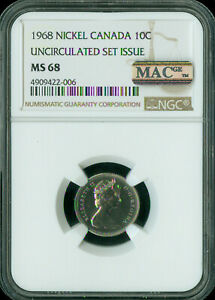 1968 CANADA 10 CENTS NGC MAC MS68 PQ SOLO FINEST GRADE SPOTLESS  ..