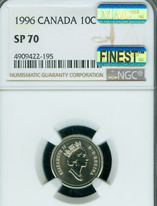 1996 CANADA 10 CENTS NGC SP 70 MAC FINEST GRADE & SPOTLESS   ..