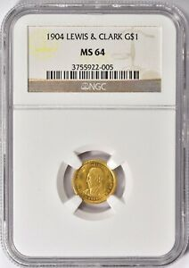 1904 LEWIS AND CLARK GOLD $1 DOLLAR COMMEMORATIVE COIN NGC MS 64